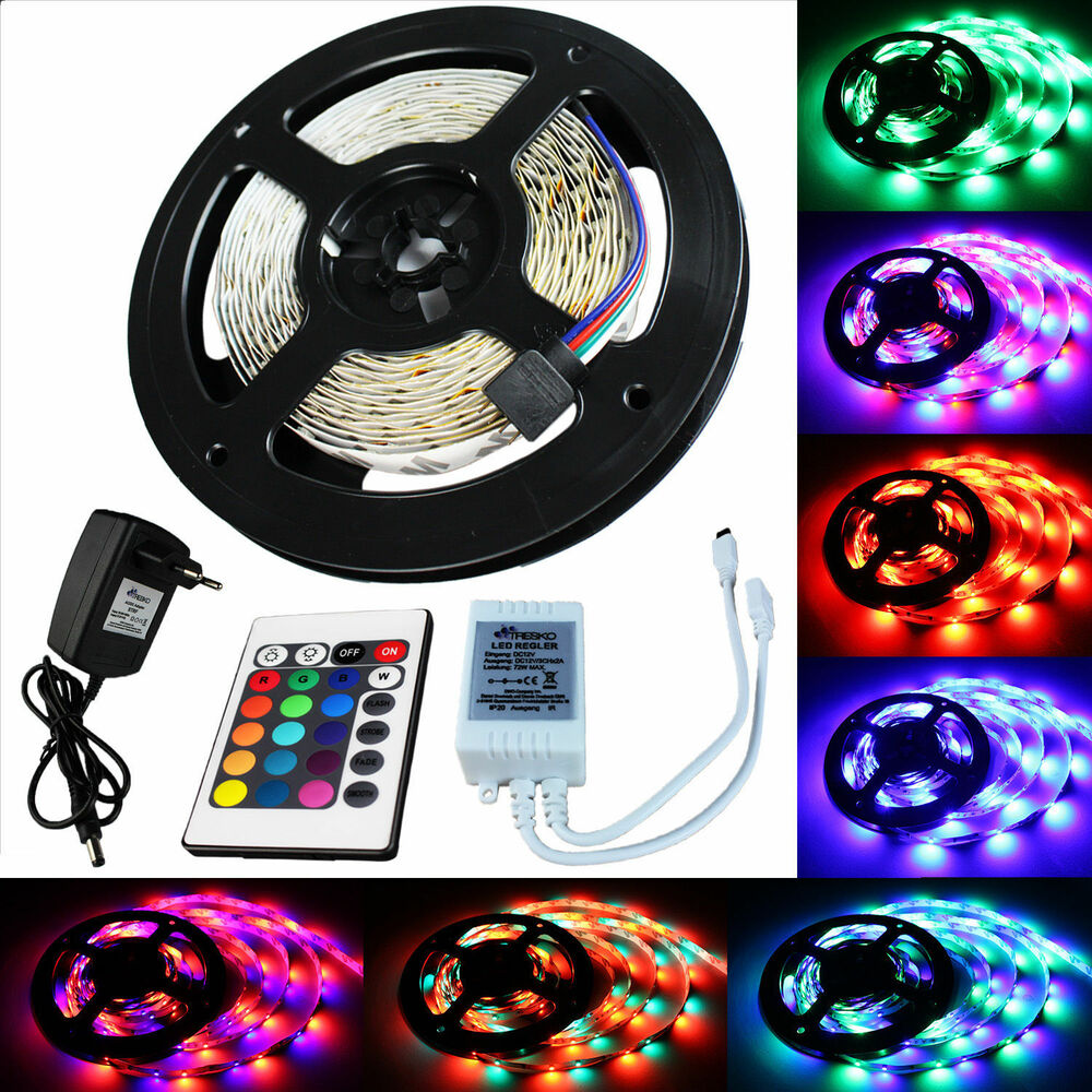 5 m rgb led strip leiste streifen band lichter smd lichterkette lichtband 3528 ebay. Black Bedroom Furniture Sets. Home Design Ideas