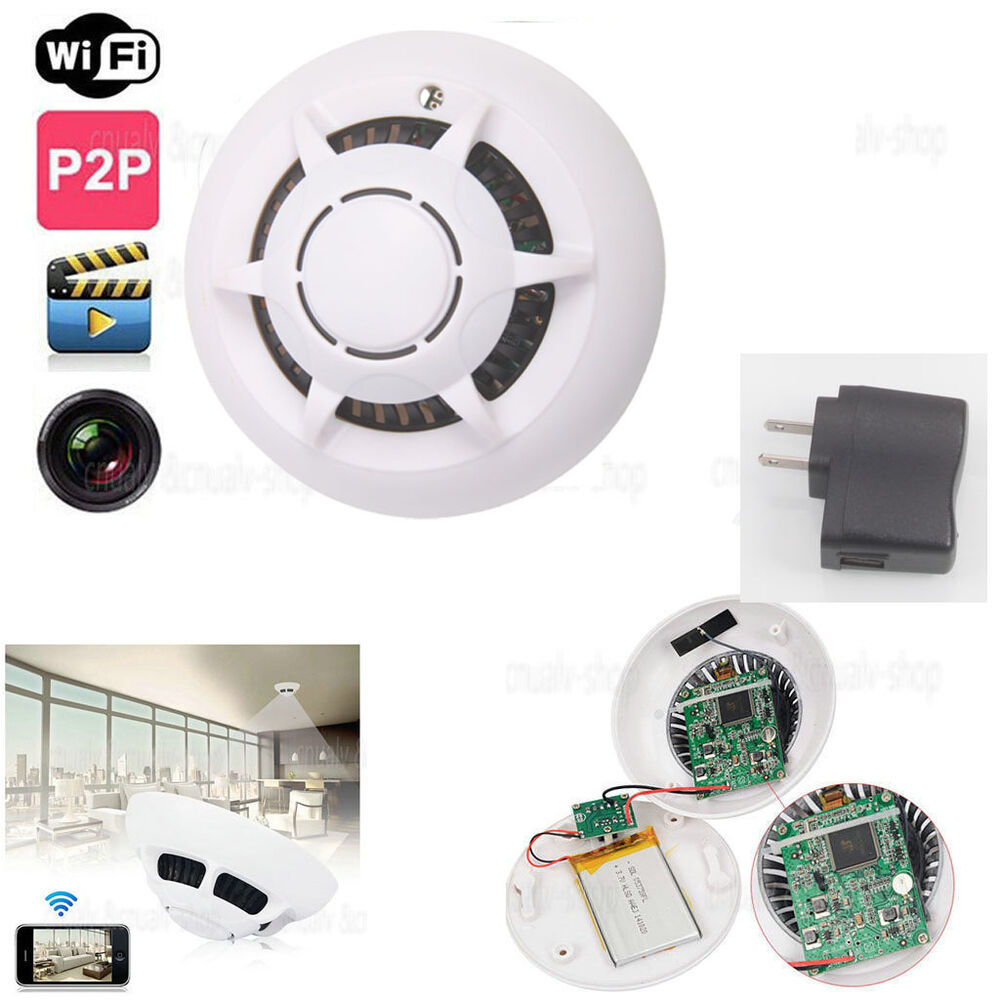 wireless hd smoke detector motion dvr digital wifi ip p2p camera video nanny cam ebay. Black Bedroom Furniture Sets. Home Design Ideas