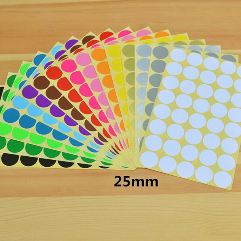 10 Sheets Coloured Dot Stickers 25mm Round Sticky Adhesive