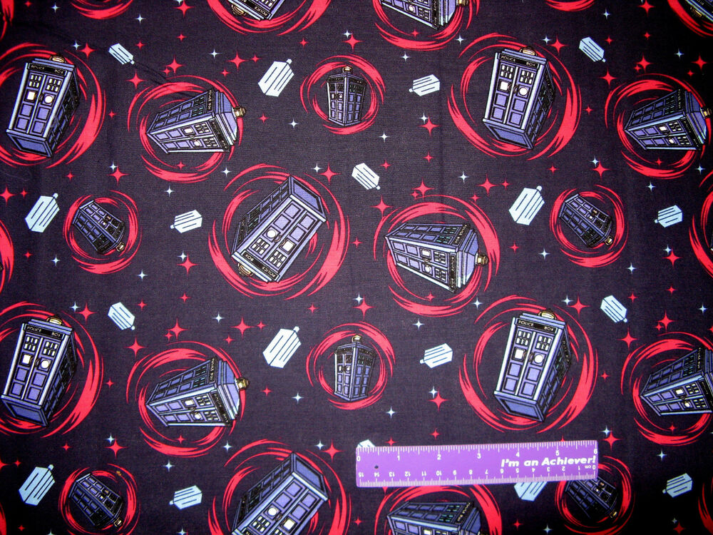 Doctor who tardis phone booth time machine space cotton for Space fabric by the yard