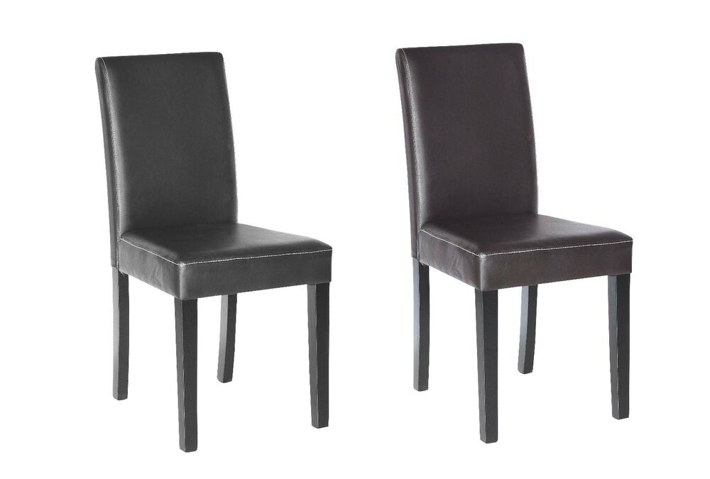 Set of 2 elegant design leather modern dining chairs room - Elegant dining room chairs ...