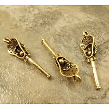 3 Gold Tone Pewter Lacrosse Stick Charms  - 5315