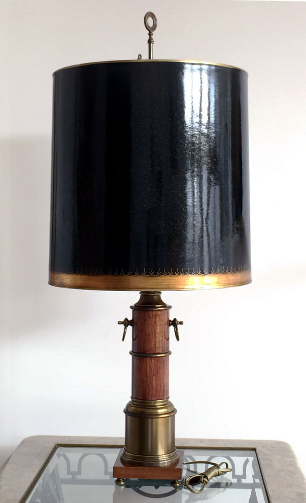 vintage wood antique brass electric table lamp 41 tall ebay. Black Bedroom Furniture Sets. Home Design Ideas