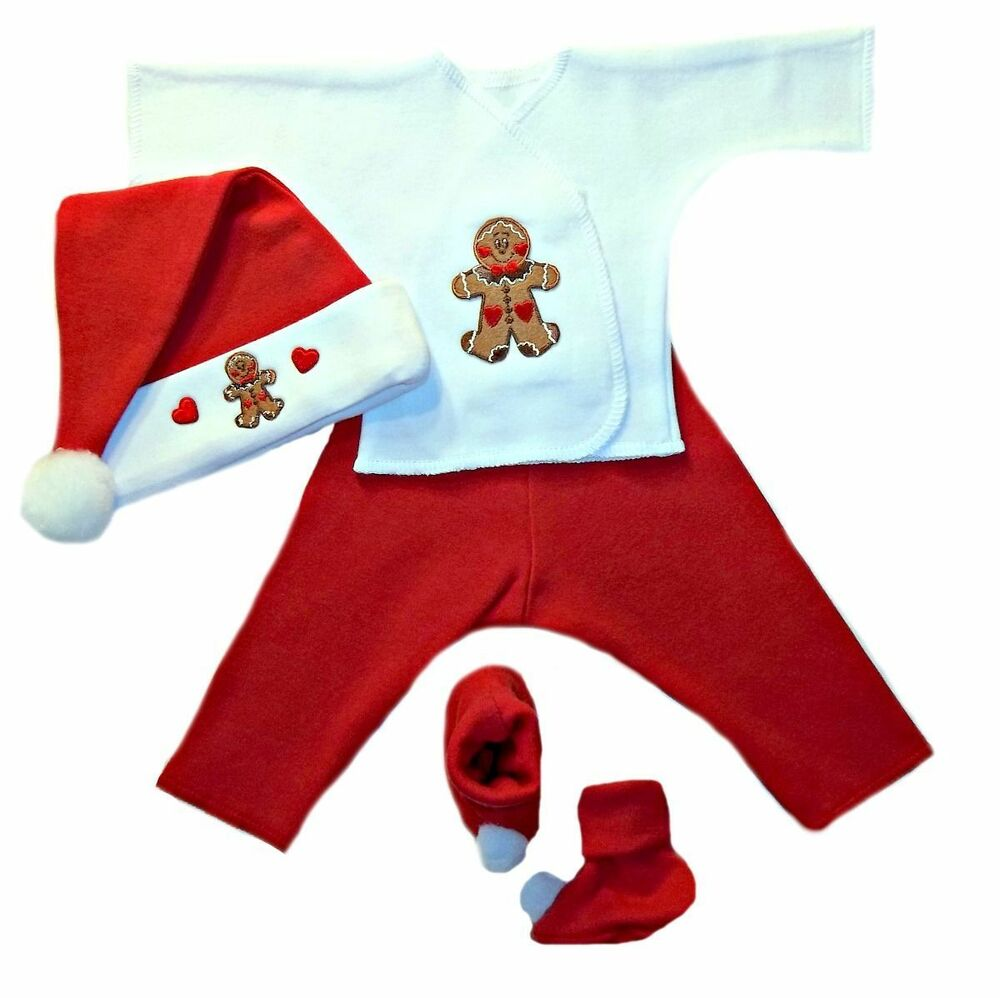 Gingerbread Boy Christmas Baby Clothing Set Preemie and