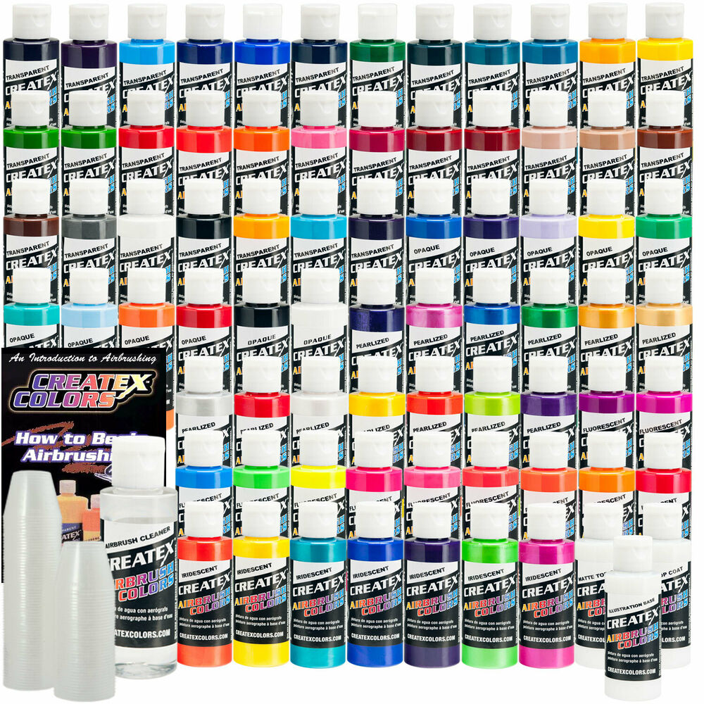 74 color createx paint set airbrush hobby art craft car ebay for Walmart arts and crafts paint