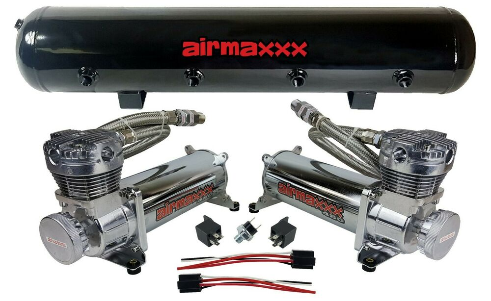 airmaxxx 480 dual chrome compressors 5 gallon tank air bag