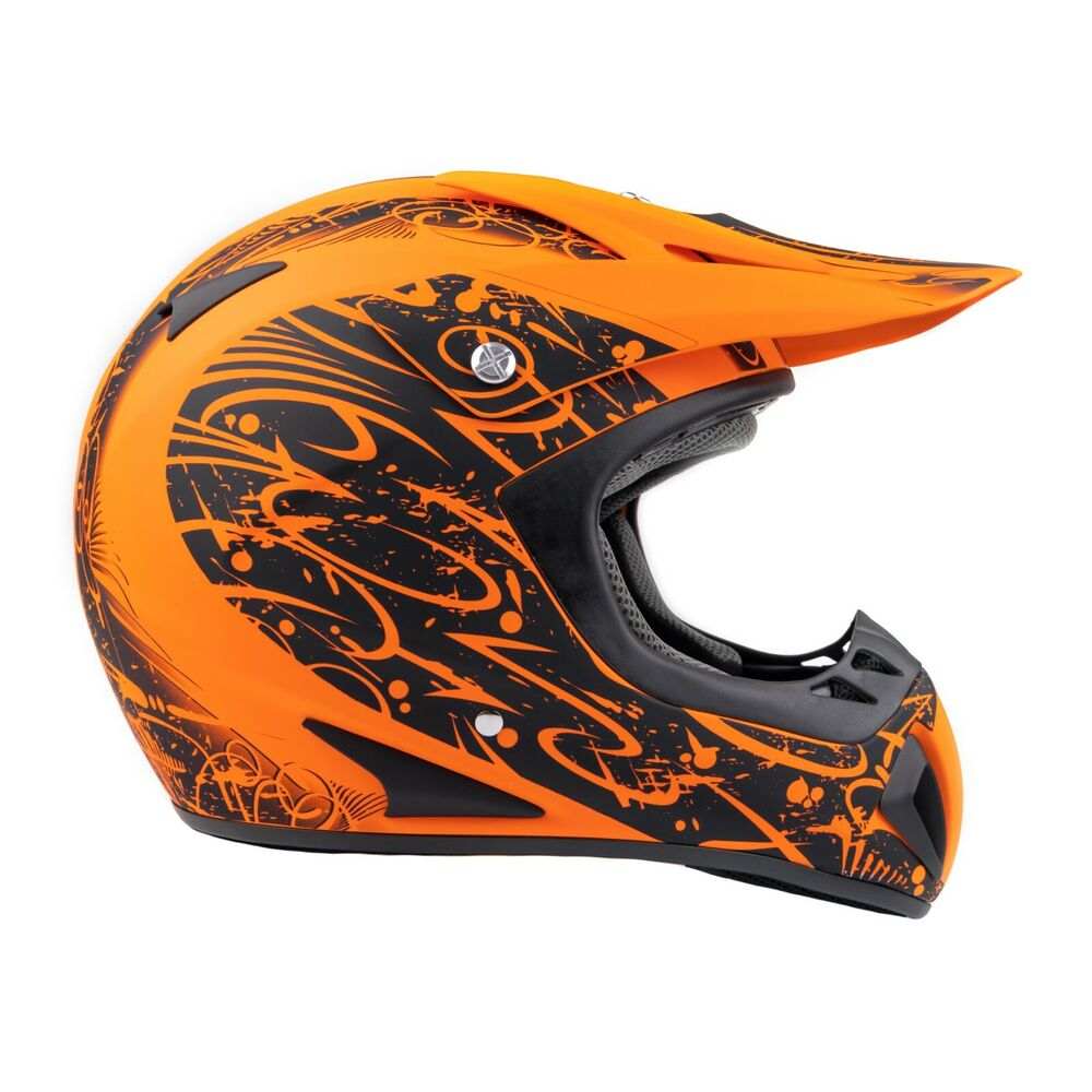 adult motocross orange helmet dirt bike mx off road atv ebay. Black Bedroom Furniture Sets. Home Design Ideas
