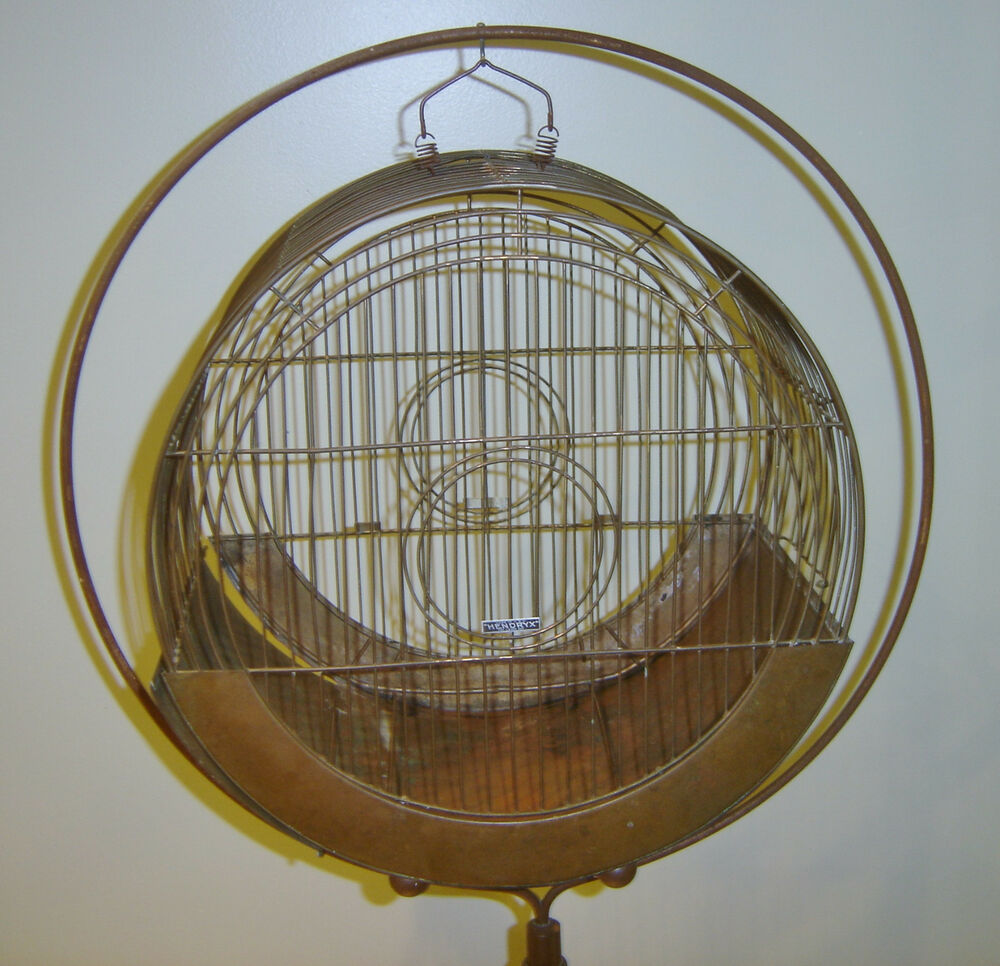 vintage hendryx copper color hat box art deco birdcage on stand ebay. Black Bedroom Furniture Sets. Home Design Ideas