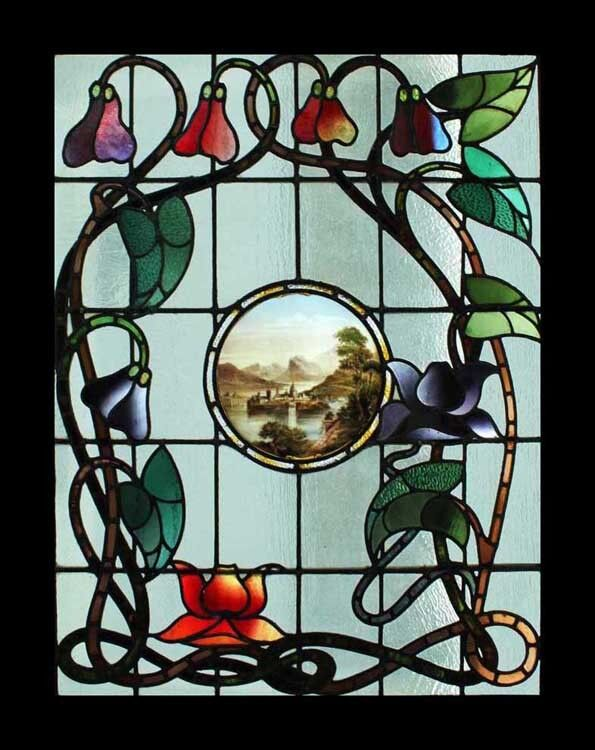 Rare art nouveau antique english stained glass window for Art nouveau fenetre