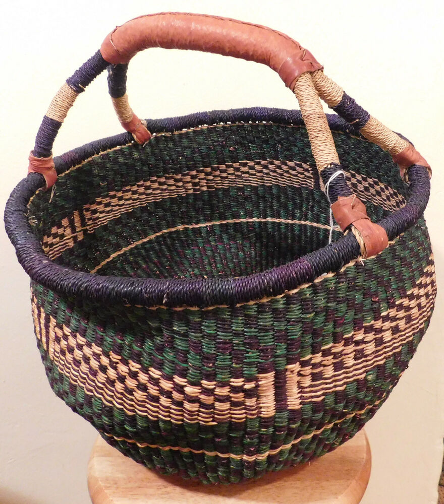 African Baskets: Blue And Green African Bolga Basket