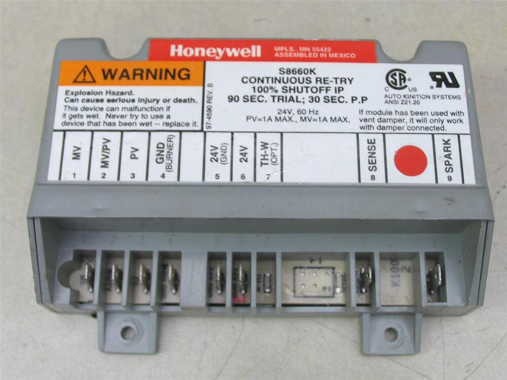 Honeywell S8660k Continuous Re Try Ignition Control Module
