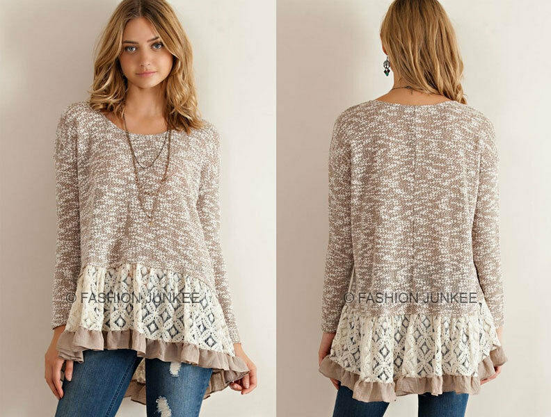 SALE TAUPE 70 LACE BLOCK SWEATER Long Sleeve Tunic Top ...