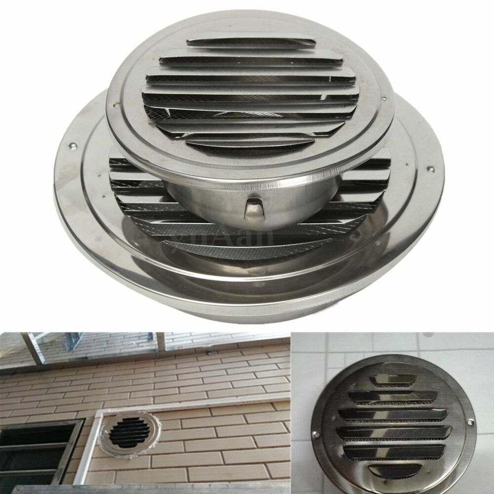 stainless silver circular air vent scoop grille cover wall ventilation grilles ebay. Black Bedroom Furniture Sets. Home Design Ideas