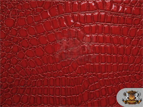 Shiny crocodile embossed red faux leather upholstery vinyl for Red leather fabric