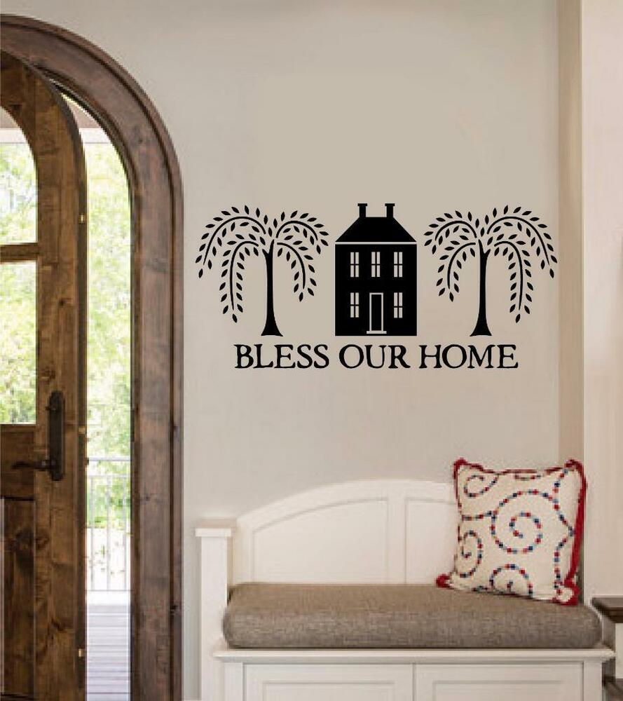 Bless Our Home Vinyl Decal Wall Sticker Words Lettering