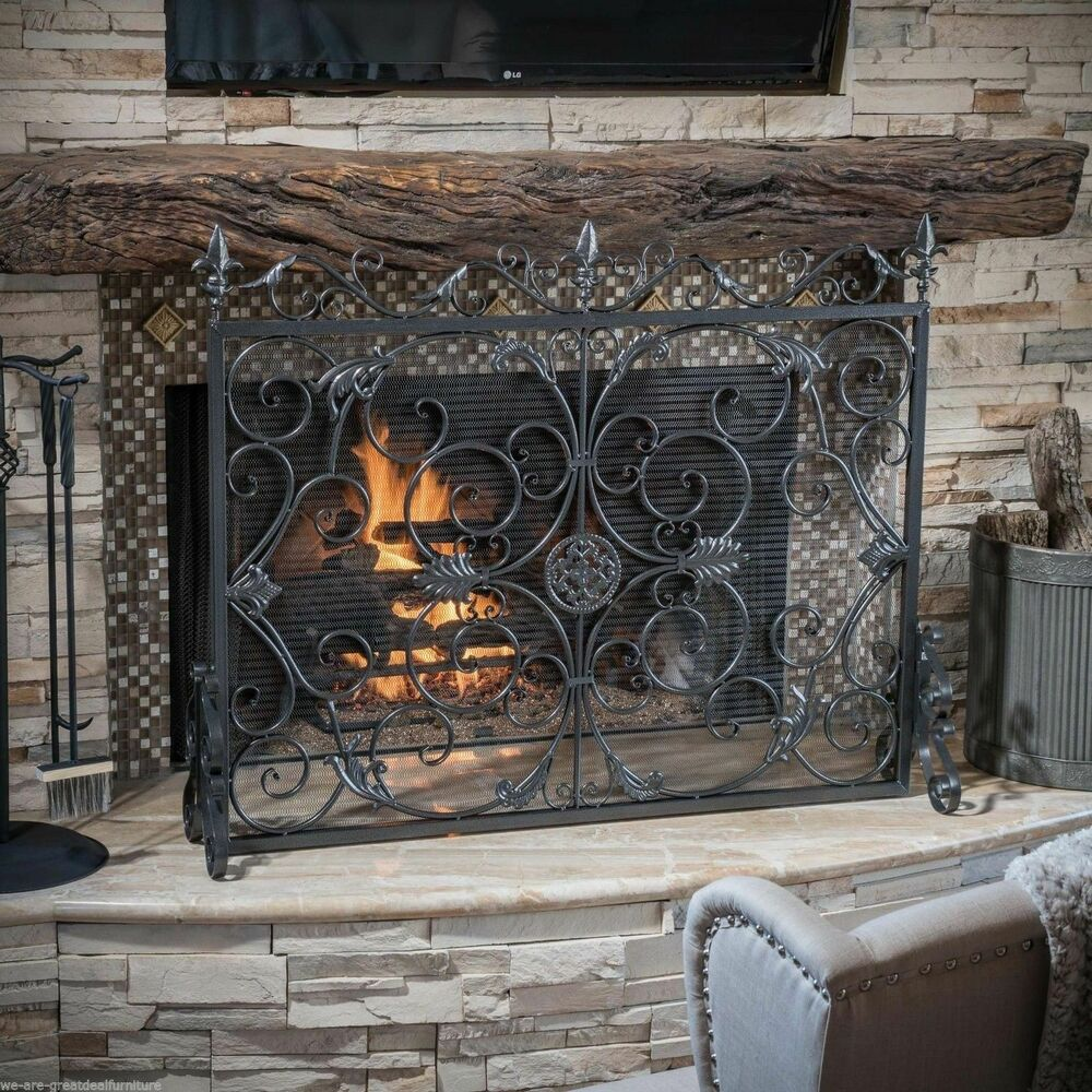 Hearth Covers: Darcie Black Brushed Silver Finish Wrought Iron Fireplace