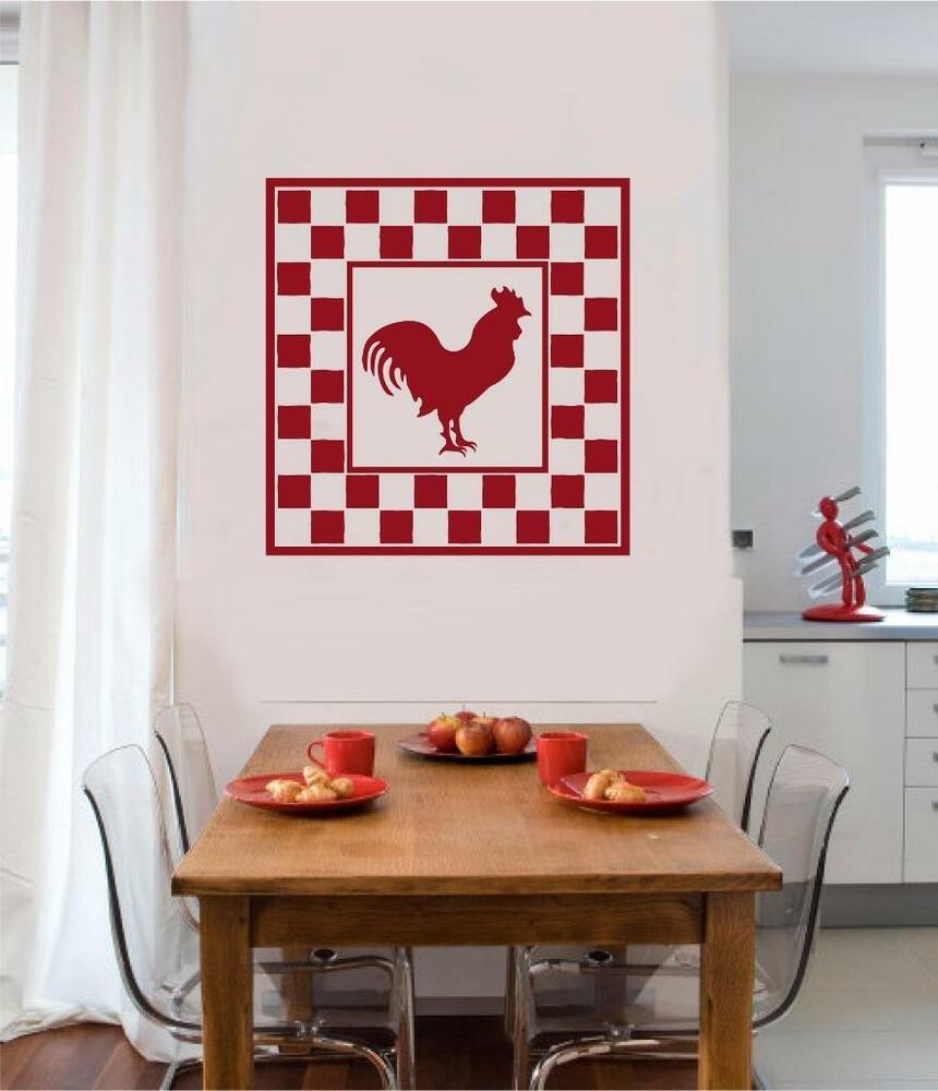 Rooster chicken vinyl decal wall sticker primitive country for Country wall mural