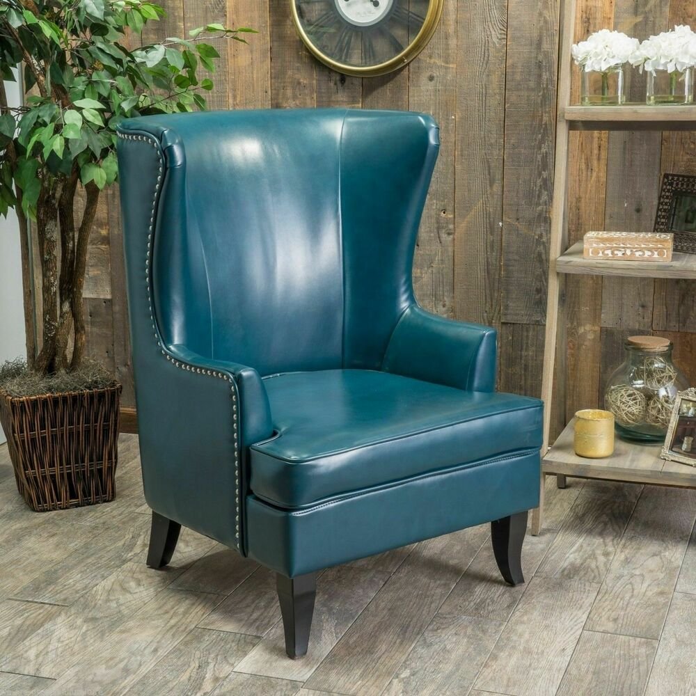 Living Room Furniture Tall Wingback Teal Blue Leather Club Chair EBay