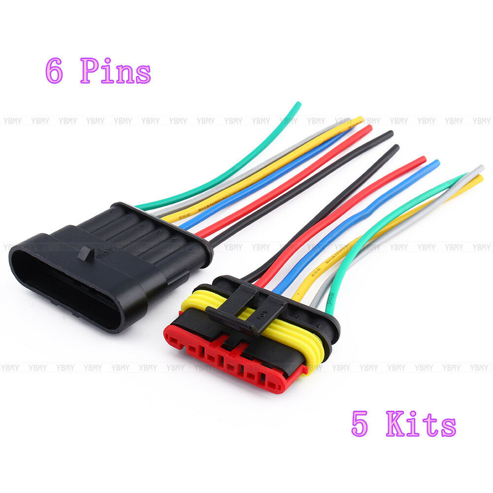 5 kits 6 pin way waterproof car auto wire electrical connector ebay