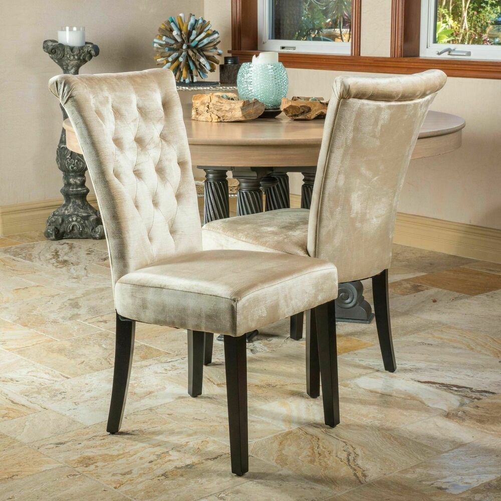 Set of 2 dining room champagne velvet dining chairs w for Tufted leather dining room chairs