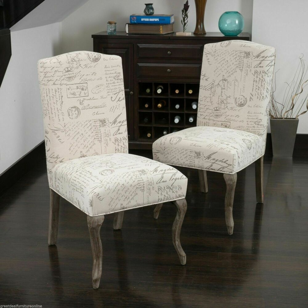 Set Of 2 Elegant French Beige Script Fabric Dining Chairs Ebay