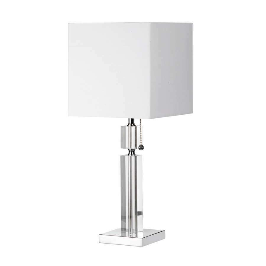 Dainolite Table Lamp Acrylic Accents Square White Linen
