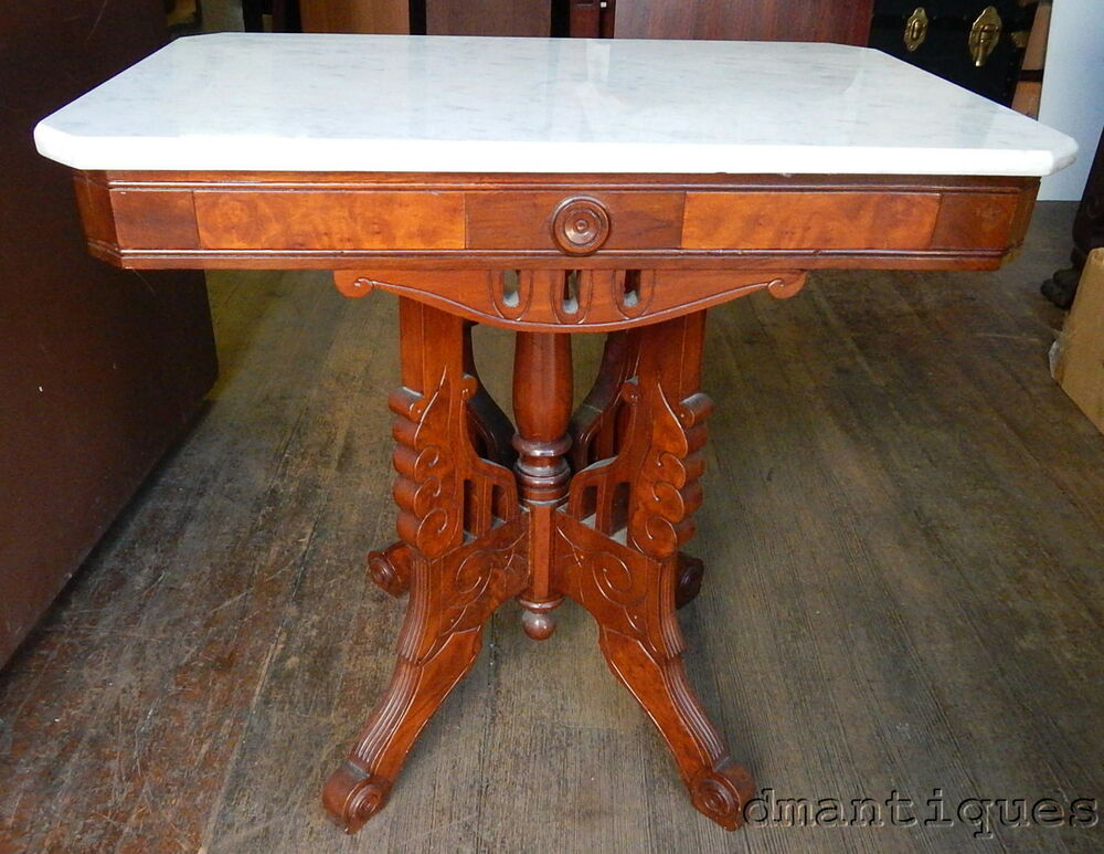 Antique Victorian Burled Walnut Italian Marble Top Coffee Table Carved Design Ebay