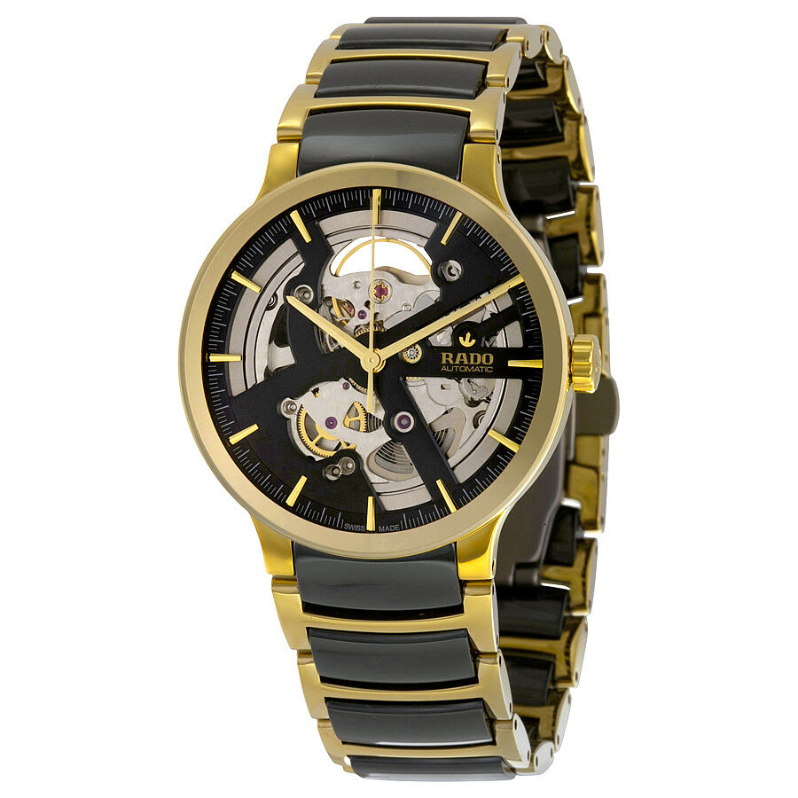 rado centrix skeleton gold pvd steel and ceramic mens