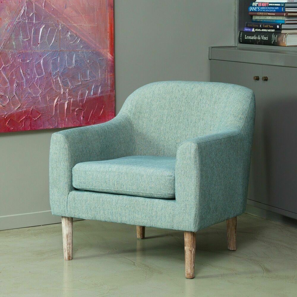Mid century retro design teal fabric arm chair w