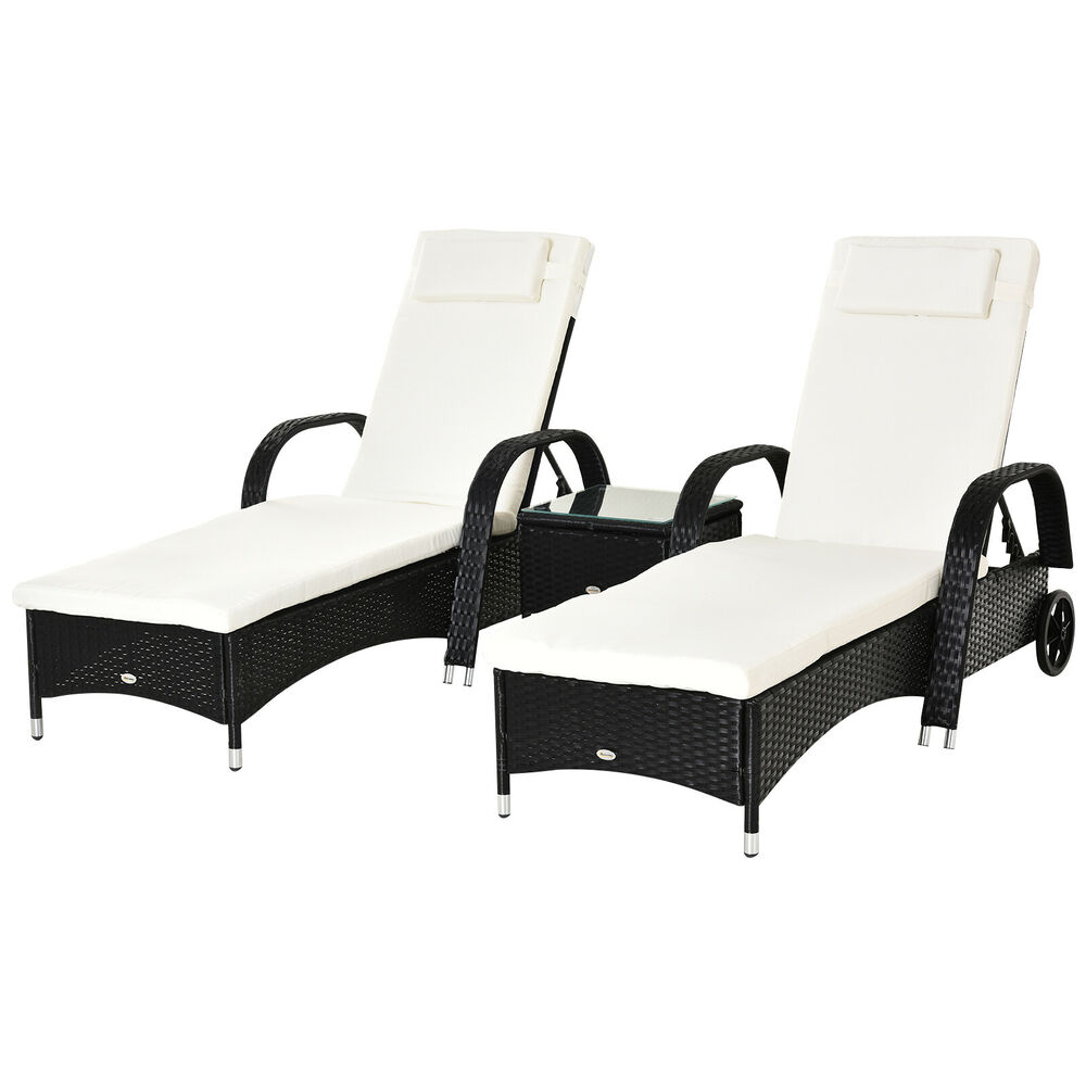 Outsunny 3PC Rattan Sun Lounger Table Patio Recliner Day ...