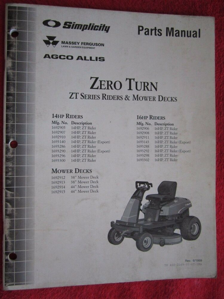 1999 Simplicity Massey Agco Allis 14hp 16hp Zero Turn