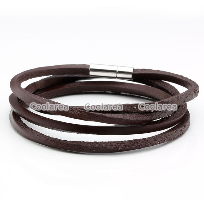mens womens multilayer brown genuine leather surfer wrap