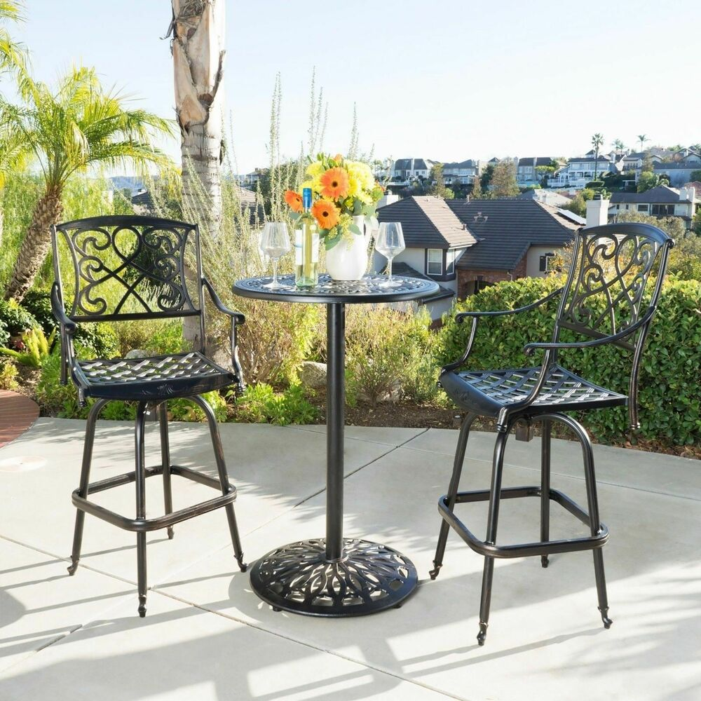 Bar Furniture Sets: Paris Outdoor Patio Cast Aluminum Pub/Bar Height Bistro