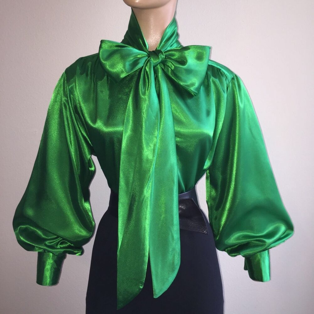 Emerald Green Shiny Liquid Satin High Neck Bow Blouse Vtg