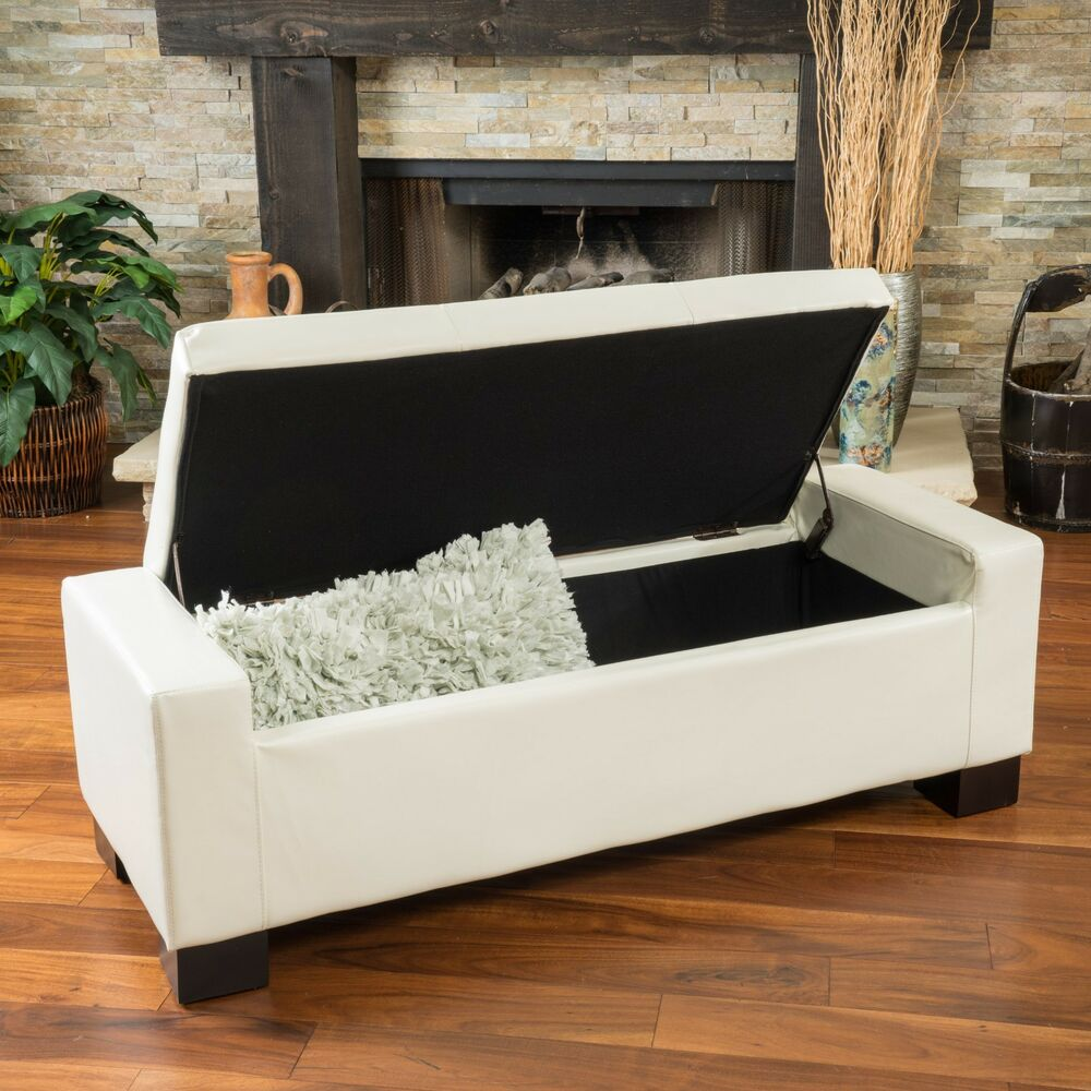 Contemporary Ivory Leather Storage Ottoman Bench Ebay
