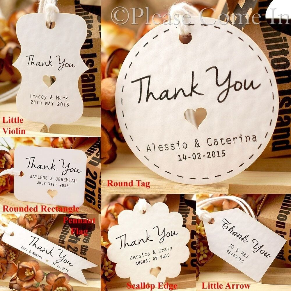 Personalised Wedding Gift Tags : Personalised White Wedding Favour Tags/ Thank You Tag/ Gift Tag with ...