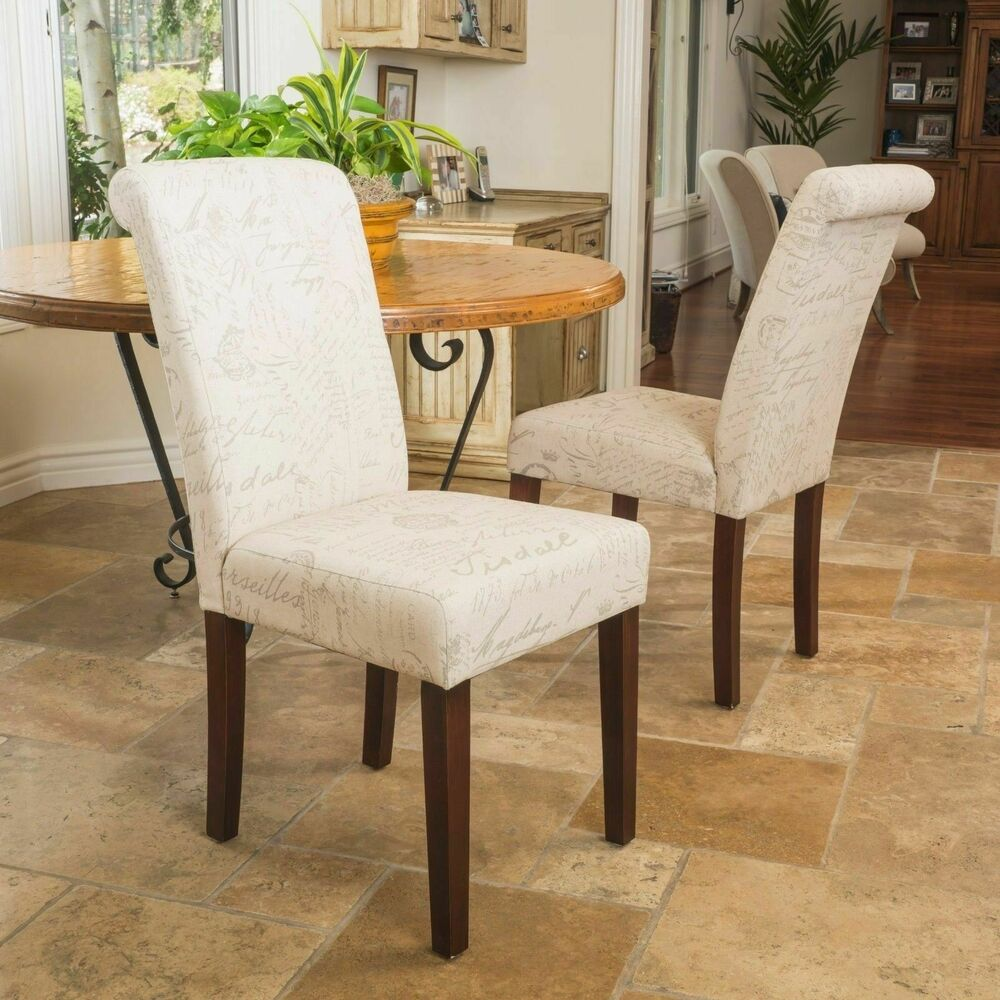 Set of 2 elegant design french script printed linen beige for Low back parsons dining chair