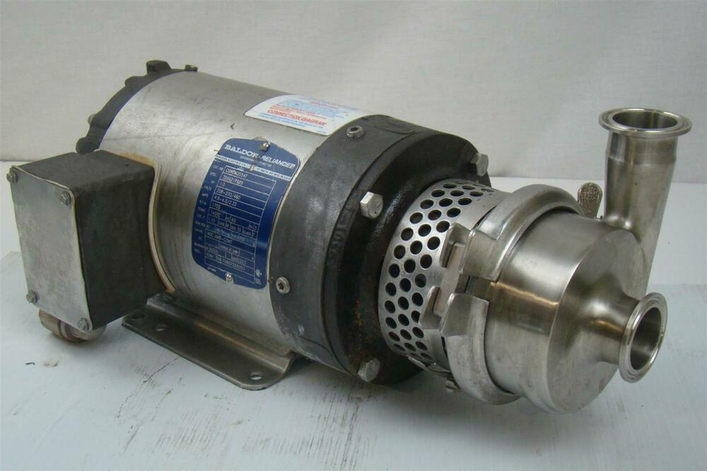 Stainless Centrifugal Pump Sanitary Tri Clamp Baldor 1 5hp