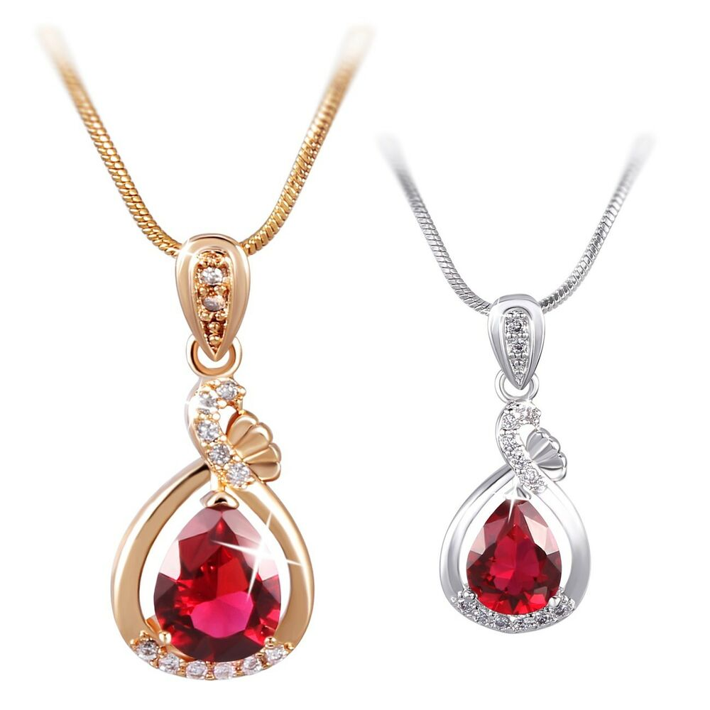 Vogue 18K White/Yellow Gold Filled Red Ruby Pendant ...