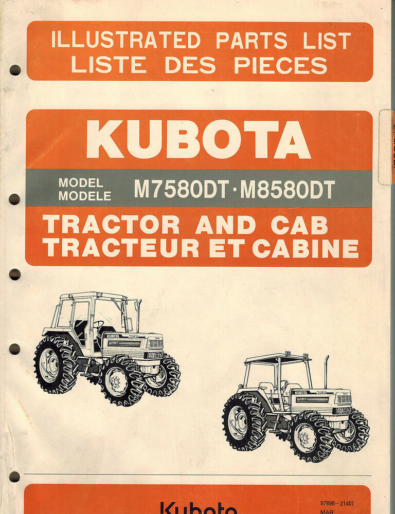 Kubota Tractor Parts : Kubota m dt tractor and cab parts manual ebay