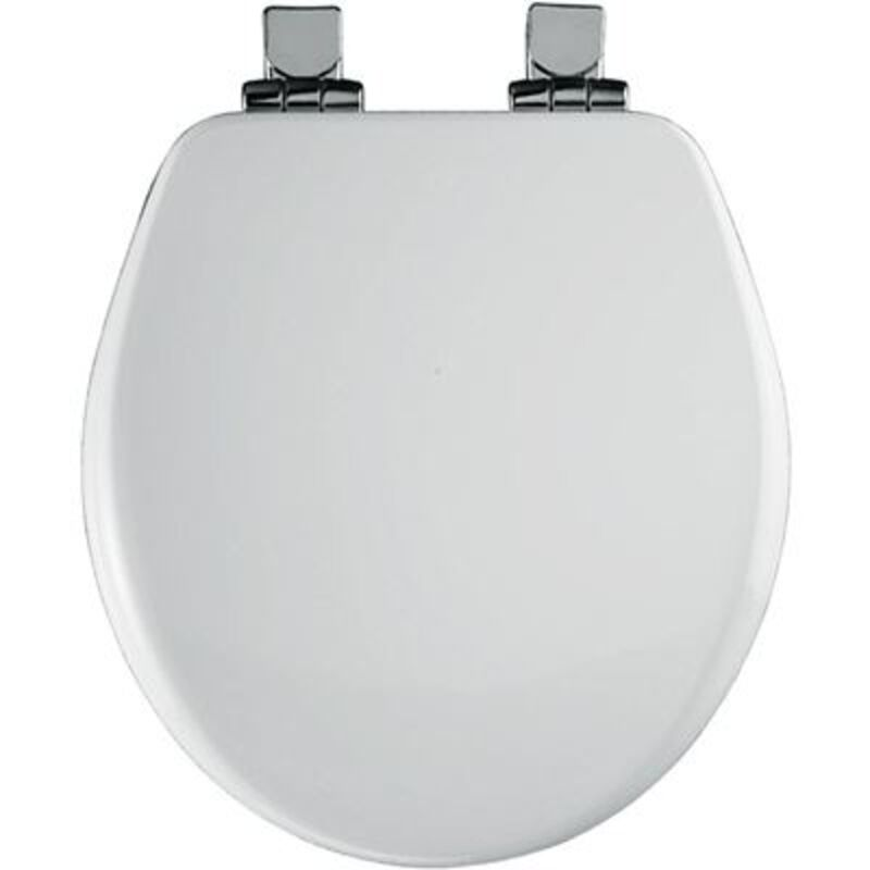 BEMIS Chrome Slow Close Round Closed Front Toilet Seat In White 9170CHSL 000