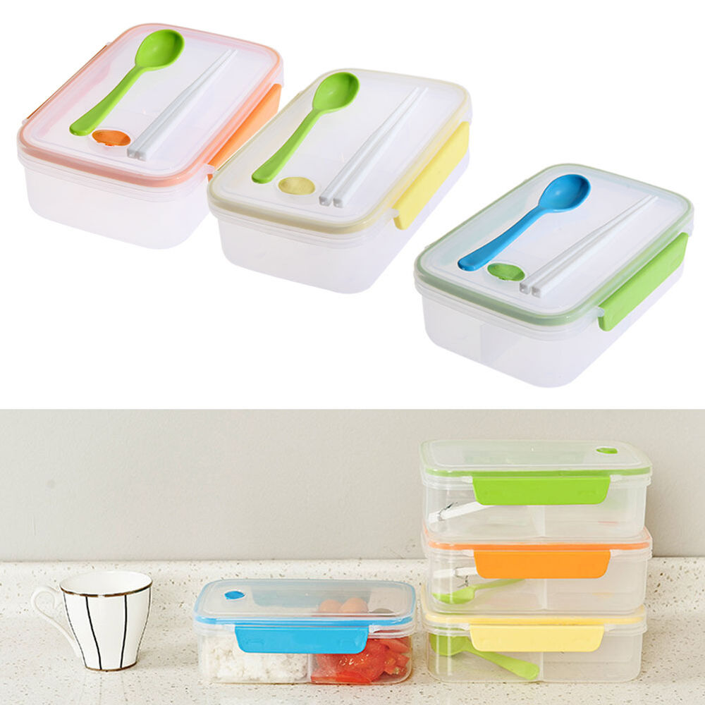 microwave plastic lunch bento box food snack meal container storage lunch box w ebay. Black Bedroom Furniture Sets. Home Design Ideas