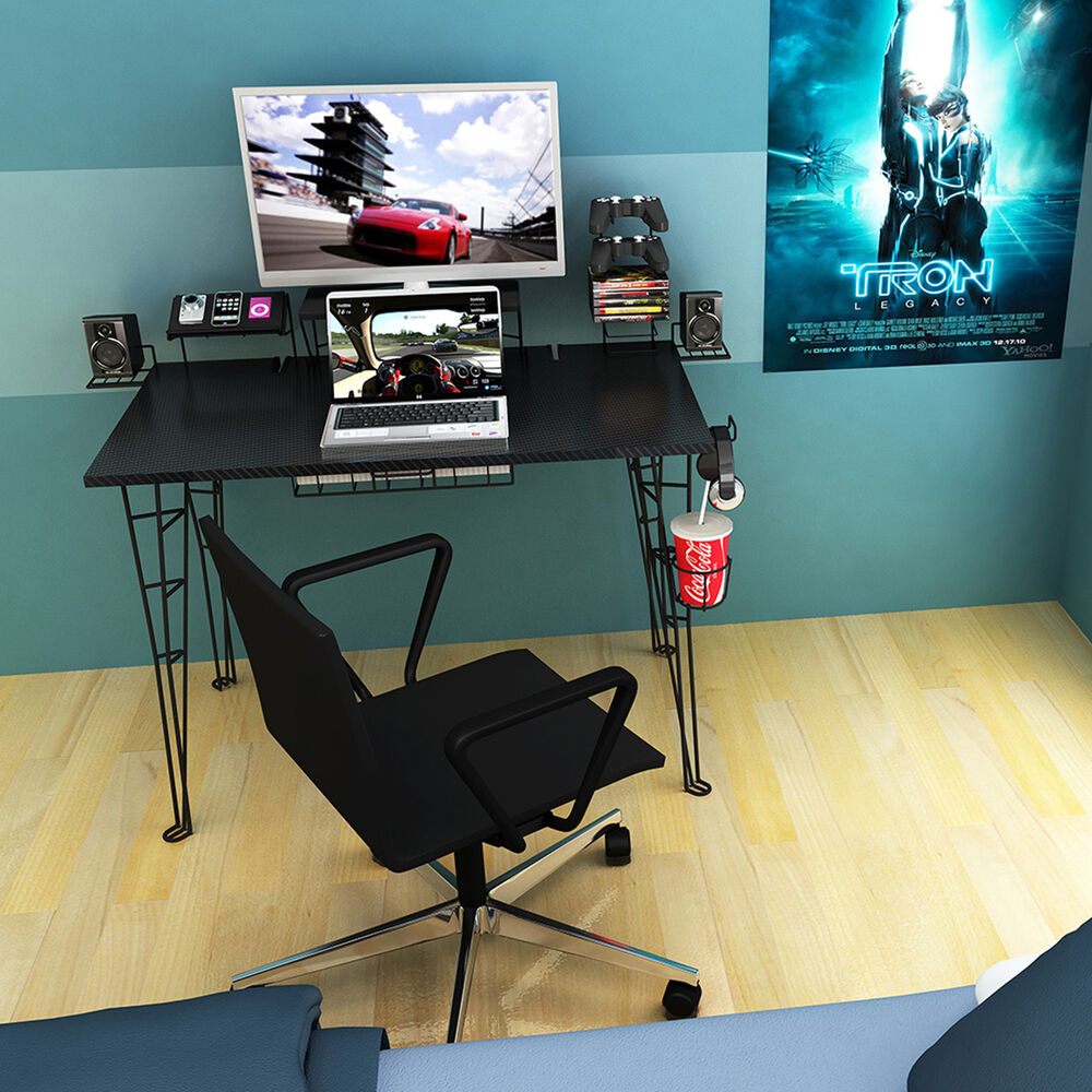 Atlantic Gaming Desk in Black with 8 Accessories 33935701 New | eBay
