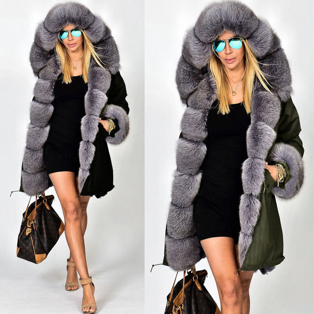 Roiii NEW Womens Faux Fur Hooded Jacket Winter Warm Parka Coat