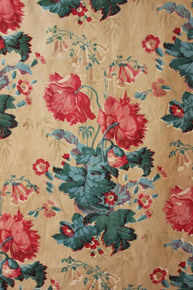 French antique fabric c1850 chintz floral design printed for Chintz fabric