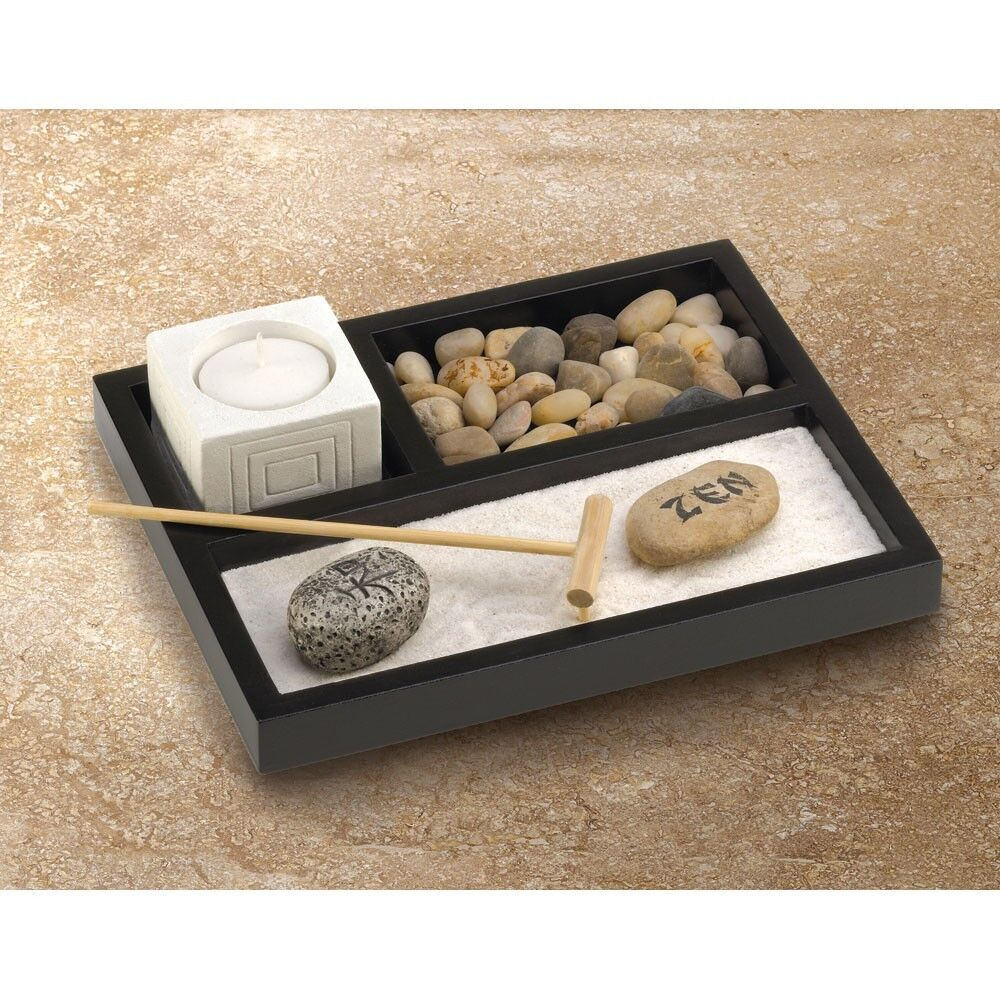 mini office desk zen sand rake rock meditation garden kit candle holder gift set ebay. Black Bedroom Furniture Sets. Home Design Ideas