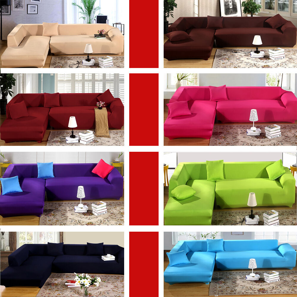 Pure Color 2 3 Seater Elastic Lounge Stretch Couch Sofa