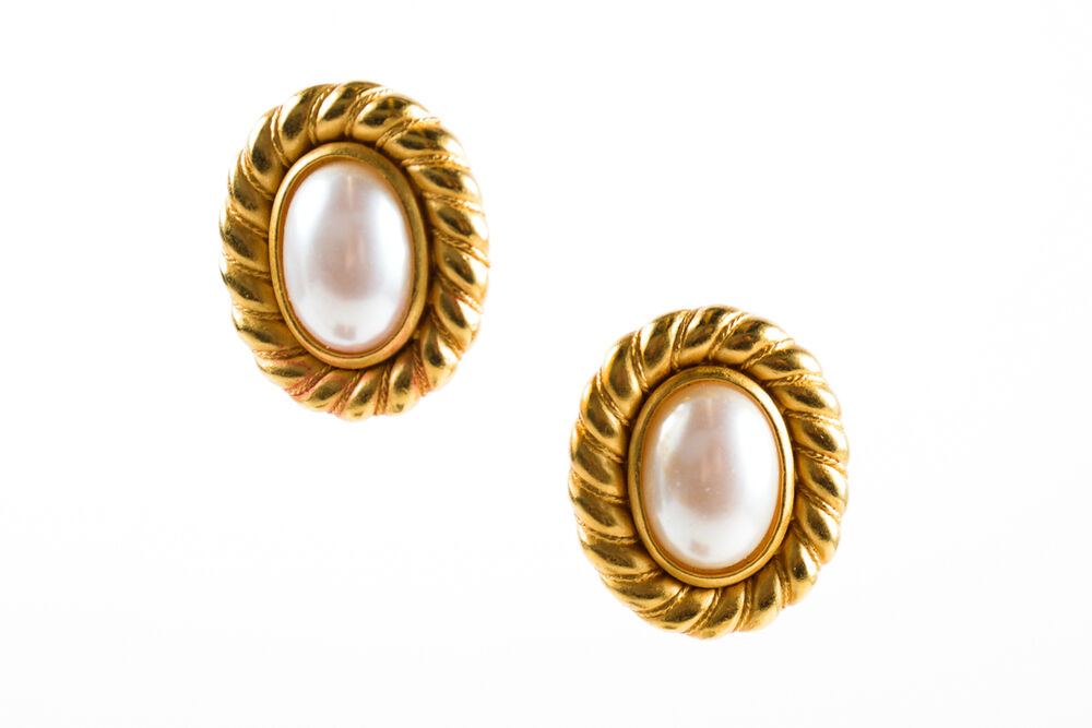 large clipon earrings vintage carolee gold tone rope trim large faux pearl oval 2312