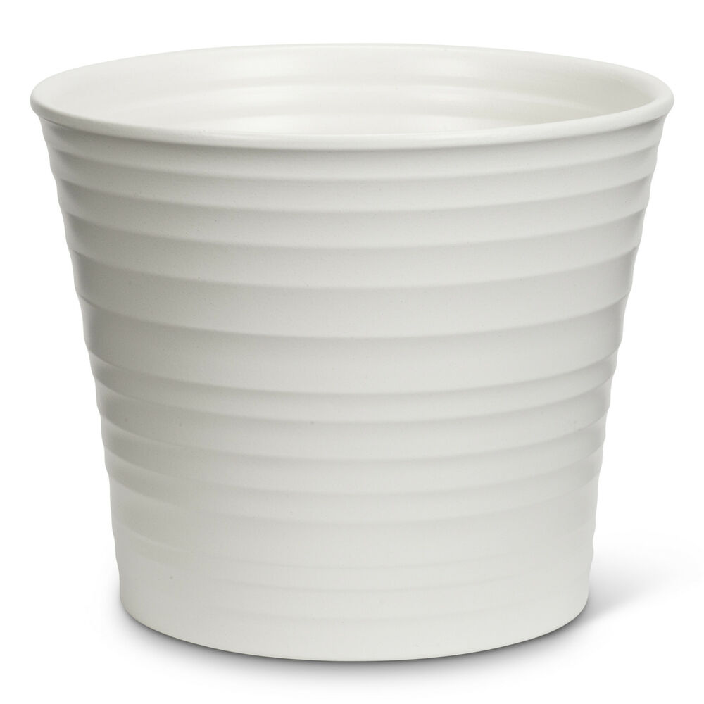 """White Outdoor Patio 36 Deluxe Large Garden Planter Flower: White 7"""" Portugal Ceramic Large Ribbed Flower Herb Planter"""