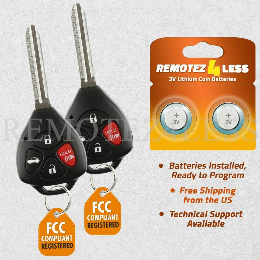2 replacement for toyota corolla avalon vibe keyless entry remote car key fob g ebay. Black Bedroom Furniture Sets. Home Design Ideas